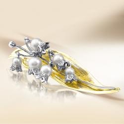 Подвеска Ландыши из желтого золота с белым жемчугом, бриллиантами