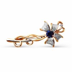 Золотая брошь Цветок с сапфиром, бриллиантами
