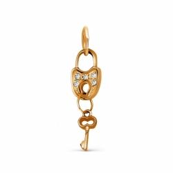 Золотая подвеска Замок и ключ с фианитами