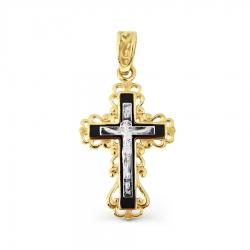 Крестик из желтого золота с эмалью