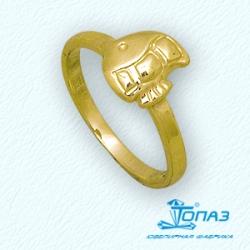 Детское кольцо Рыбка из желтого золота