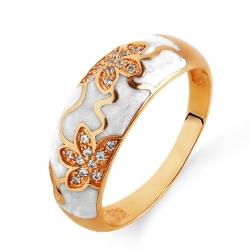 Золотое кольцо с эмалью, фианитами