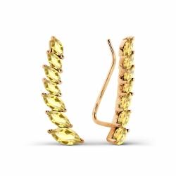 Золотые серьги с цитринами