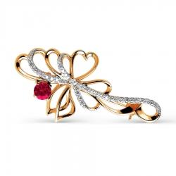 Золотая брошка Бантики  с рубином и бриллиантом