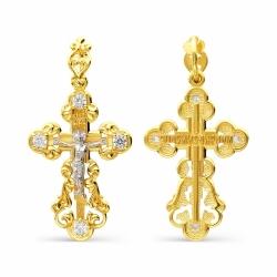 Крестик из желтого золота с фианитами