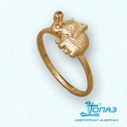 Детское золотое кольцо Слоник с фианитом