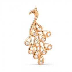 Золотая подвеска Жар птица с бриллиантами
