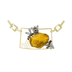 Колье из жёлтого золота 585 пробы с бриллиантами и цитрином