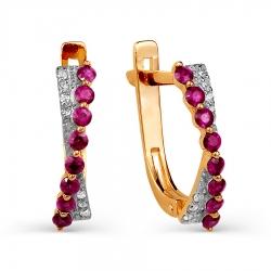 Золотые серьги с рубинами, бриллиантами