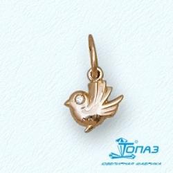 Детская золотая подвеска Птичка с фианитом