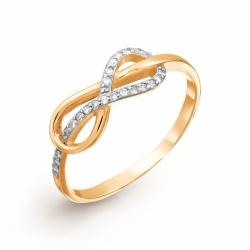 Золотое кольцо Знак бесконечности с бриллиантами