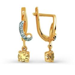 Серьги из желтого золота с цитрином и фианитами