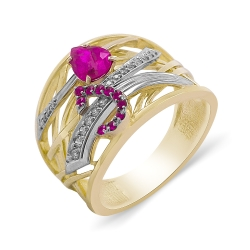 Эксклюзивное кольцо из золота с бриллиантами и рубинами