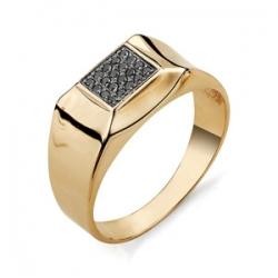 Мужское золотое кольцо с черными бриллиантами