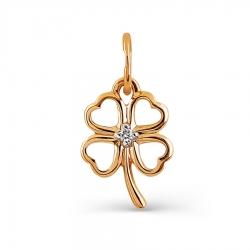 Т141033374 золотая подвеска клевер с бриллиантом