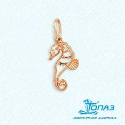 Золотая подвеска Морской конек с фианитом