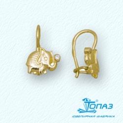 Детские серьги Слон из желтого золота с фианитами