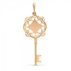 Золотая подвеска Ключ с бриллиантами