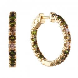 Серьги из золота 585 пробы с турмалинами и бриллиантами