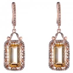 Серьги из розового золота 585 пробы с бриллиантами и цитринами