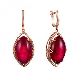 Серьги из розового золота 585 пробы с бриллиантами и рубинами выращенными