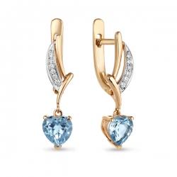 Золотые серьги c бриллиантами и топазами Романтика