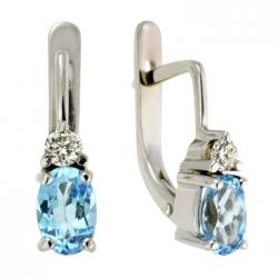Золотые серьги c бриллиантами и топазами