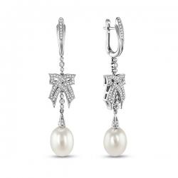 Серьги Бантики из белого золота c бриллиантами и белым жемчугом Драгоценное наследие