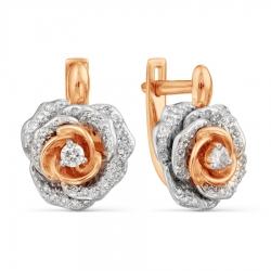 Серьги с бриллиантами Цветок