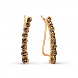 Золотые серьги с раухтопазом
