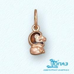 Детская золотая подвеска Лев с эмалью
