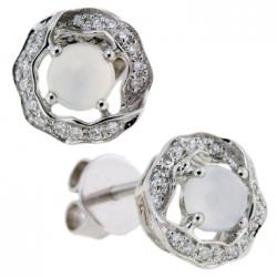 Серьги из белого золота c халцедонами и бриллиантами