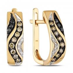 Золотые серьги c черными бриллиантами