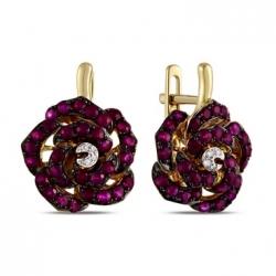 Золотые серьги c бриллиантами и рубинами Цветы
