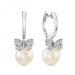 Золотые серьги бантики c бриллиантами и белым жемчугом Секрет русалки