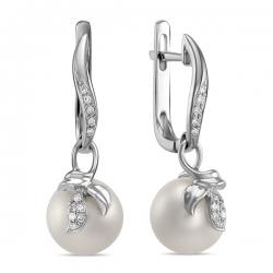 Золотые серьги c бриллиантами и белым жемчугом Секрет русалки
