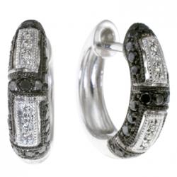 Серьги из белого золота c черными бриллиантами