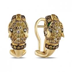 Золотые серьги «Пантера» c бриллиантами и изумрудами