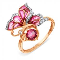 Золотое кольцо с эмалью и родолитом, фианитами
