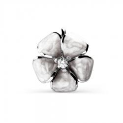 Подвеска Цветок из белого золота с эмалью, фианитами