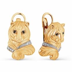 Золотые серьги Тигр с бриллиантами
