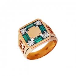 Кольцо-печатка из золота с бриллиантами и изумрудами