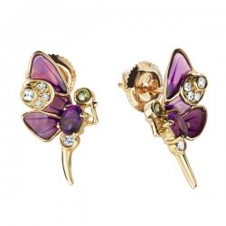 Золотые серьги Бабочки c аметистами, бриллиантами, эмалью, топазами и цаворитами