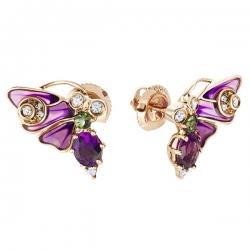 "Золотые серьги ""Бабочки"" c аметистами, бриллиантами, эмалью и турмалинами"