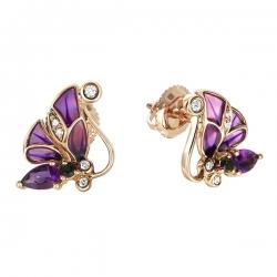 """Золотые серьги """"Бабочки"""" c аметистами, бриллиантами, эмалью, топазами и турмалинами"""