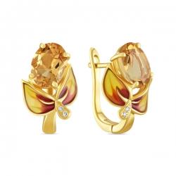 Серьги Цветы из желтого золота c цитринами, бриллиантами и эмалью