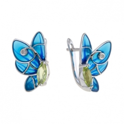 Серьги из белого золота c бриллиантами, эмалью и перидотами Весенние бабочки