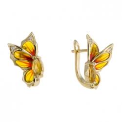 Серьги Бабочки из желтого золота c цитринами, бриллиантами и эмалью
