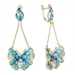"""Серьги """"Бабочки"""" из желтого золота c топазами, бриллиантами и эмалью"""