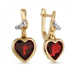Золотые серьги c бриллиантами и гранатами Романтика